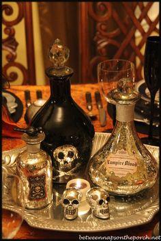 Samain:  Elegant & Eerie Halloween Tablescape, for #Samain, Between Naps on the Porch.
