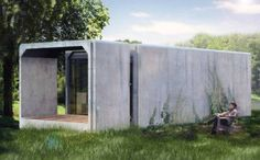 Pop-Up Housing Competition Designs Housing for the Homeless Precast Concrete, Concrete Houses, Prefab Homes, Modular Homes, Micro House, Tiny House, Green Architecture, Architecture Design, Low Cost Housing