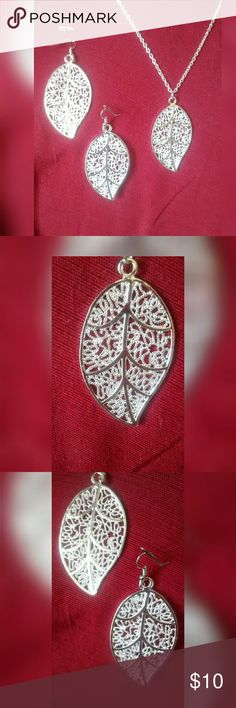 Silver Set Sterling silver plated leaf necklace and matching earrings. Very pretty. Jewelry