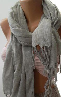 Soft Linen   Grey / Elegance  Shawl / Scarf by womann on Etsy,