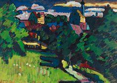 """Wassily Kandinsky - """"Murnau - Ansicht mit Burg, Kirche und Eisenbahn"""", 1909"""
