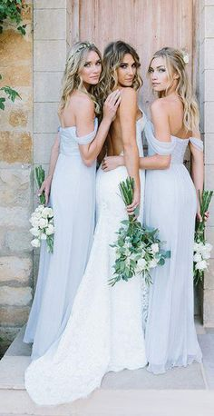 Pretty Silk-like Chiffon Off-the-shoulder Neckline A-line Bridesmaid Dresses