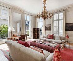 white paint/curtains/touch of color: Regal Paris Apartment Living Room   via Christie's International Real Estate  House & Home