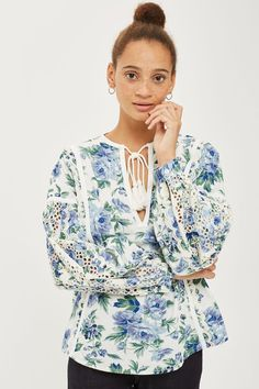 Blue Floral Print Balloon Sleeve Top - Topshop