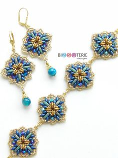 Crystalle bracelet and earrings - instant download pattern