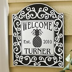 Scroll Tile Welcome Plaque