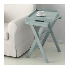 """$69.99 IKEA MARYD Tray Table - folds flat, removable handle tray with flat traditional TV tray can be used as tray in bed, laptop stand (lip may not be comfortable for typing) + more. Green, gray, pink. 22-7/8""""w x 15 x 22-7/8"""". Table top/ Bottom: Fiberboard, Acrylic paint. Underframe/ Tray/ Leg/ Cross rail: Solid beech, Acrylic paint"""