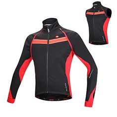 Santic Mens Cycling Biking Jacket Winter Long Removable Sleeve Thermal Windproof XLarge Red ** Want to know more, click on the image.Note:It is affiliate link to Amazon.