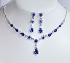 Silver W. Royal Blue Rhinestone Crystal Bridal Necklace and Earrings Set Prom Necklaces, Prom Jewelry, Jewelry Sets, Bridal Jewelry, Jewellery, Blue Diamond Necklace, Blue Earrings, Purple Wedding Jewelry, Fantasy Jewelry