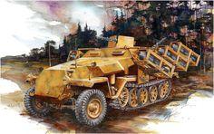 Art illustration - World War II F-14 Tomcat, Ww2 History, Armored Fighting Vehicle, Battle Tank, Armored Vehicles, Military Art, Box Art, World War Two, Military Vehicles