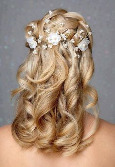 medium length half up wedding hairstyles - Google Search
