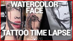 WATERCOLOR FACE TATTOO TIME LAPSE