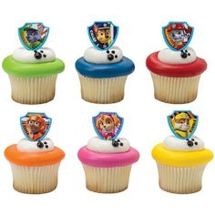 Twenty-four (24) Paw Patrol Ruff Ruff Rescue Cupcake Rings. Rings are made of plastic and feature 6 fun styles! So cute atop your cupcakes or