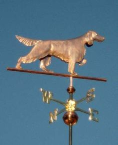 English Setter Dog Weathervane by West Coast Weather Vanes.  Customers can provide photographs of their special canine pets for a customized  weather vane depicting  their favorite dog.