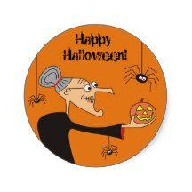 Funny Cartoon Witch Halloween Stickers,Orange