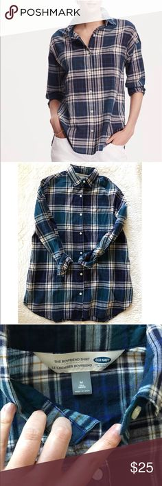 🆕 Listing! Plaid Boyfriend Shirt in Tall New Listing! Plaid Boyfriend Shirt. Size Medium Tall- great length! Excellent condition. Please let me know any questions! Old Navy Tops Button Down Shirts