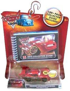 Disney / Pixar CARS Movie 2010 Collector's Guide with Exclusive 155 Die Cast Dragon McQueen with Metallic Finish by Mattel. $46.97. Includes 100+ page collector guide with more than 150 images of Cars characters!. Disney Pixar Cars Toon Collection 1:55 scale die cast car from Mattel. For Ages 3 & Up. The Cars Die-Cast Collector Guide features all single 1:55 scale die-cast in 2009. Includes exclusive Night Vision Lightning McQueen and a spiral bound collector guide notebook.