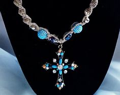 Handmade Blue, Orange and Crystal Cross Pendant Hemp Necklace with Blue and Silver Beads