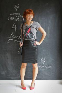 Blog De repente Tamy  camiseta com saia lápis um de quatro look com a mesma peça versatilidade