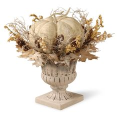Add the final touches to your seasonal decorating with the National Tree Company White Pumpkin Décor. This festive accent piece brings all of the elements of fall foliage along with a plump pumpkin into 1 elegant, white washed centerpiece. White Pumpkin Decor, White Pumpkins, Fall Pumpkins, White Pumpkin Centerpieces, Pumpkin Arrangements, Burlap Pumpkins, Velvet Pumpkins, Fabric Pumpkins, Autumn Decorating