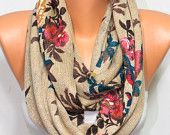 Floral Print Camel Knit Fabric Infinity Scarf Loop Scarf Fall Winter Women Scarves Women's Fashion Accessories Gift Ideas For Her For Mom