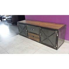 Meuble industriel tv acier et bois vintage