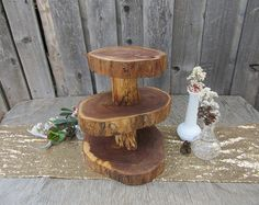 Cupcake Stand Rustic Centerpiece Tree Slices Cupcake Stand