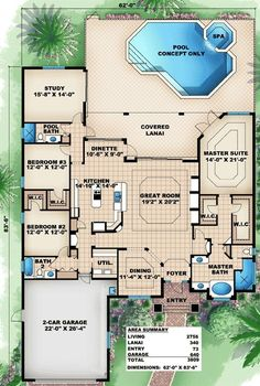 Great Family Home Plan - 66283WE | 1st Floor Master Suite, CAD Available, Den-Office-Library-Study, Florida, MBR Sitting Area, Mediterranean, PDF, Split Bedrooms | Architectural Designs
