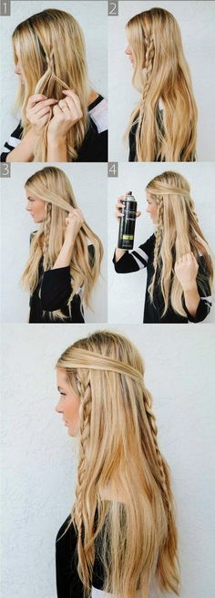 Easy braided hairstyle.