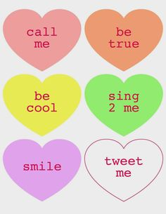"Printable ""Conversation Hearts"""