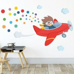 Red airplane vinyl with confetti - Children& vinyl for children and babies - Dzjn - Micro Creche, Pictures To Paint, Drawing For Kids, My Dream Home, Kids Bedroom, Baby Room, Preschool, Sweet Home, Kids Rugs