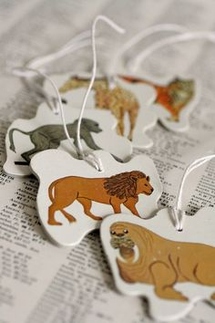 Recycled Cardboard Noah's Ark Puzzle Piece Gift Tags by TEA101