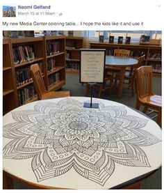 A coloring table creates a beautiful, interactive space for students.  This post has great resources for purchasing giant coloring sheets.