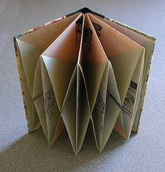 "Origami folded book by Karen Elaine Thomas. This book was made with more neutral colors to offset the content as an idea for the projects in Origami Card Craft. Sage green and soft peach rice papers were cut 6"" square and stamped with black ink before folding and gluing. The covers were made with book binding boards and decorative paper which were glued to the front and back of the folded book for a more finished look."