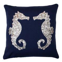 Sequin Seahorse Pillow