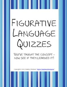 Classroom Freebies: Figurative Language Worksheets