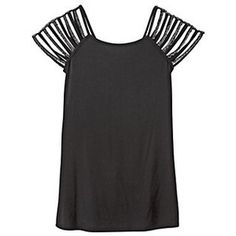 strip cut sleeves to make this from a regular T-shirt. This would make a great off the shoulder shirt if you put some elastic around the top and stretch the sleeves out to hang down.