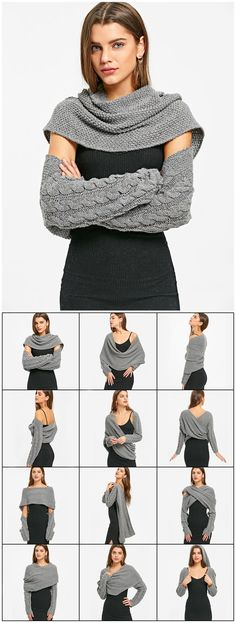 Convertible Sweater mit Zopfmuster of knitting loom Look Fashion, Diy Fashion, Winter Fashion, Fashion Trends, Fashion Black, Trendy Fashion, Fashion Outfits, Fashion 2017, Fashion Inspiration