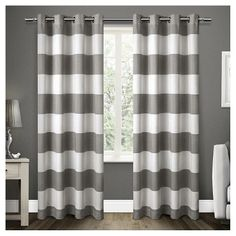 Set of 2 / Pair Santa Monica Cabana Stripe Linen Grommet Top Window Curtain Panels Exclusive Home : Target