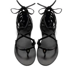 Yoins Black Leather Look Lace-up Strappy Flat Sandals ($30) ❤ liked on Polyvore featuring shoes, sandals, lace-up sandals, flats sandals, strappy flat sandals, black sandals and black strap sandals