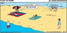 For heaven's sake Alan! Let go of the sandwich! Beach Cartoon, Cartoon Pics, Far Side Cartoons, Funny Cartoons, Funny Beach Pictures, Beach Humor, Funny Comments, Art For Art Sake, Sea And Ocean