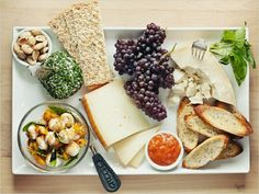 summer cheese plate with fruits, nuts and breads . nice whole foods! Wine Recipes, Whole Food Recipes, Whole Foods, Yummy Food, Tasty, Healthy Food, Healthy Eating, Yummy Snacks, Party Dips