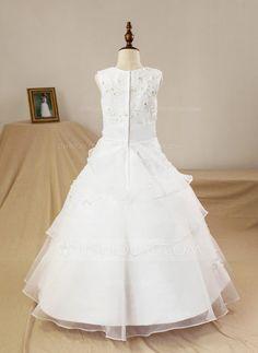 A-Line/Princess Scoop Neck Floor-length Beading Flower(s) Satin Tulle Sleeveless Flower Girl Dress (Petticoat NOT included) Flower Girl Dress