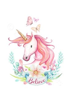 Unicorn Nursery 3 Prints Set Unicorn Believe Print Unicorn Unicorn Wall Art, Unicorn Drawing, Unicorn Illustration, Watercolor Illustration, Unicorn Bedroom Decor, Unicornios Wallpaper, Cute Animals Images, Unicorn Pictures, Flamingo Art