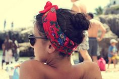 8 Beach-Ready Hairstyles For Summer 2012.  Love the bun with the bright scarf!