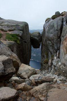 Kjeragbolten, Norway - Kjeragbolten is   on the edge of the Kjerag mountain in Lysefjorden, Norway.