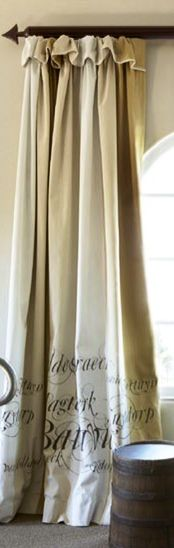Curtains with script. African Sketchbook... local artist... hand painted.