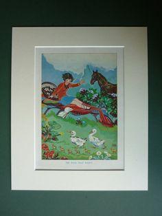 Original 1920s Children's Matted Print - Art Deco - Countryside - Ducks - Black Horse - Sunny Day - Summer - Joyce Mercer - Garden - Girl