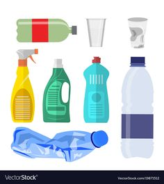 Plastic waste icon collection on white. Plastic bottles and another garbage, non-recyclable trash. Vector illustration in , Sustainability Education, Waste Art, Recycling, Earth Day Crafts, Animal Doodles, Game Concept Art, Science Experiments Kids, Plastic Waste, Kids Education