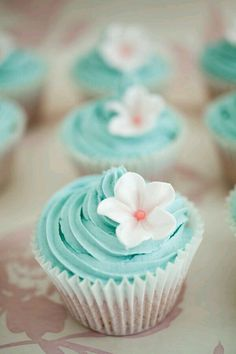 Pretty Cupcakes with Single Sugar Blossom Teal Cupcakes, Pretty Cupcakes, Flower Cupcakes, Wedding Cupcakes, Turquoise Cupcakes, Fairy Cupcakes, Spring Cupcakes, Mocha Cupcakes, Strawberry Cupcakes